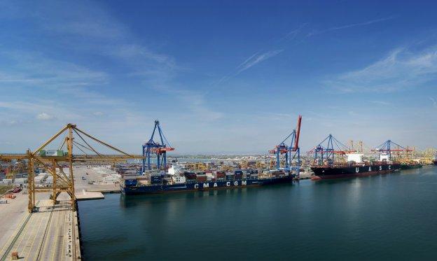 Unos buques haciendo labores de estiba de Noatum Container Terminal Valencia.