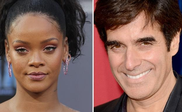 La cantante Rihanna y el ilusionista David Copperfield. /Afp