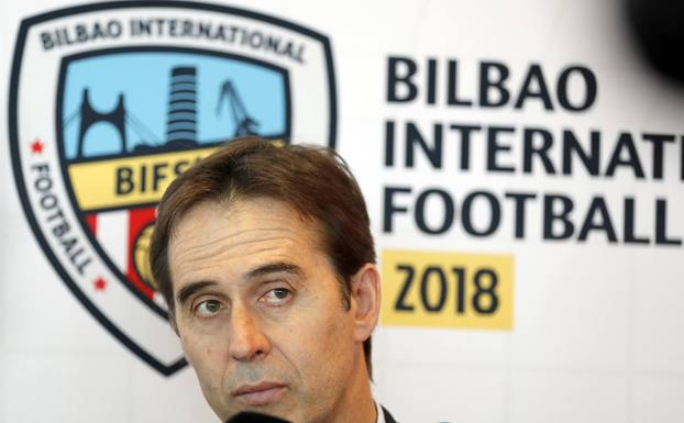 Julen Lopetegui, durante el I Bilbao International Football Summit (BIFS'18). /Efe