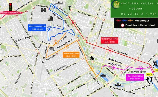 Mapa Fallas Valencia 2019.Trafico En Valencia Calles Cortadas Por La 15k Nocturna