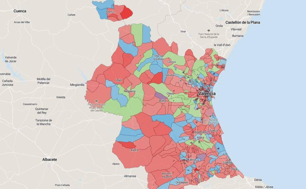 Mapa Municipios De Valencia.Mapa De Los Resultados De Las Elecciones Del 10n En Valencia