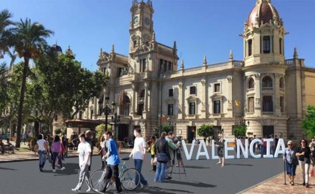 Cartel promocional de una de las campañas de peatonalización de la plaza del Ayuntamiento de Valencia./