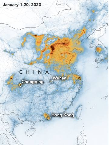 Enero: Las zonas anaranjadasa muestran la contaminación por NO2.