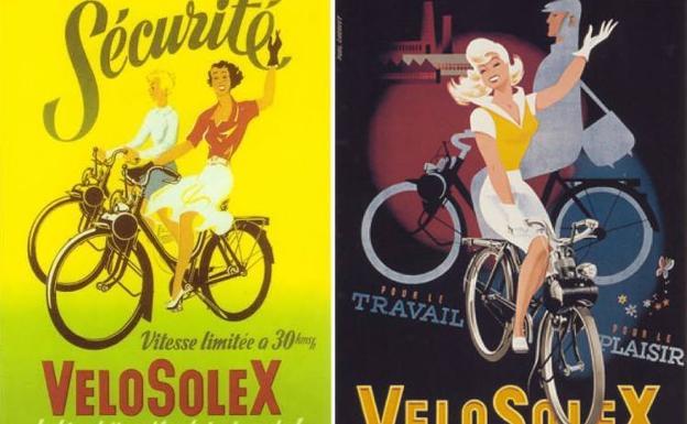 Para el trabajo y la diversión, el VéloSolex se anunciaba como la bicicleta que rodaba sola