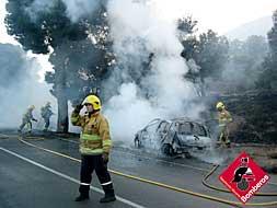 Los bomberos sofocan el incendio junto a la carretera./